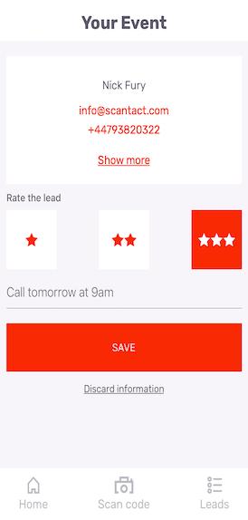 Scantact Lead Retrieval App