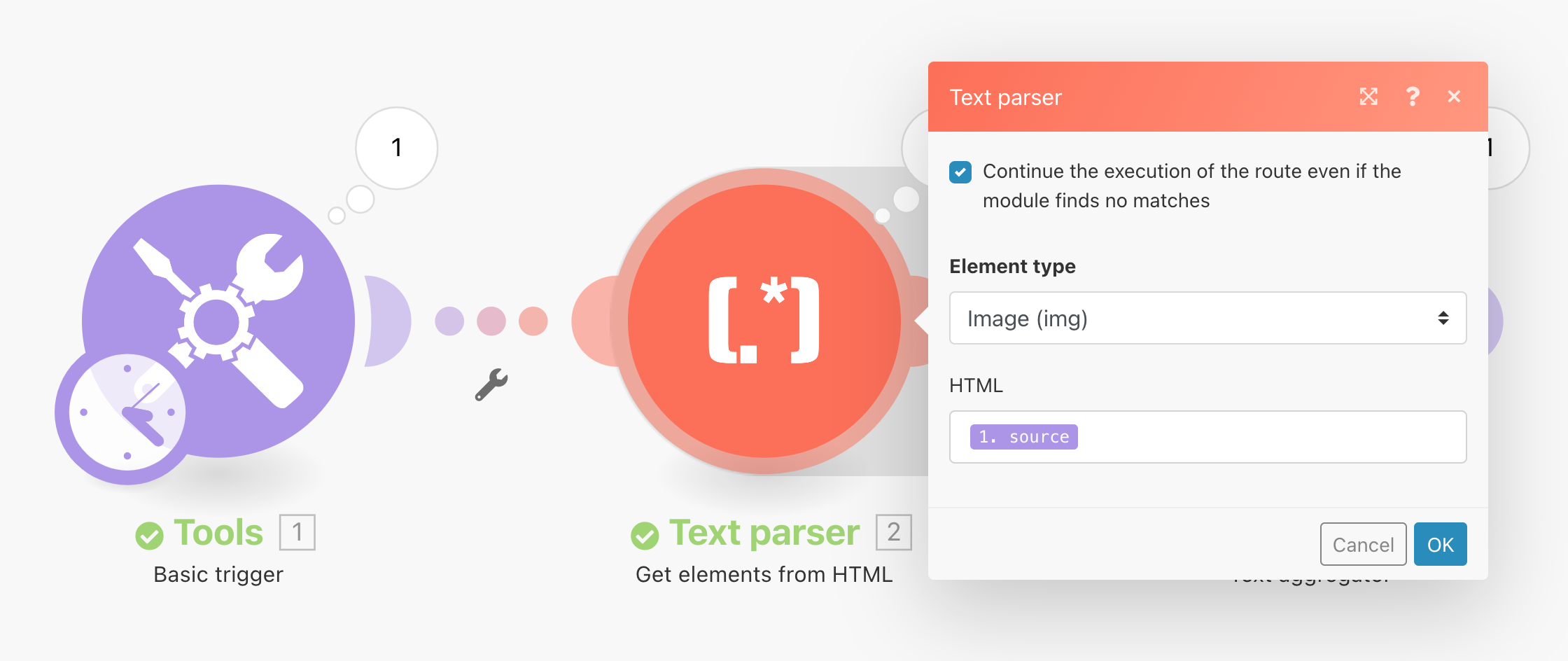 Text parser for image tags