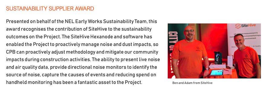 SiteHive Wins CPB North East Link Early Works Sustainability Award