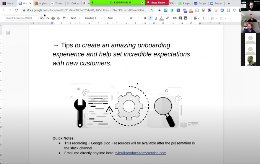 Productized Day: Onboarding and Expectations presentation