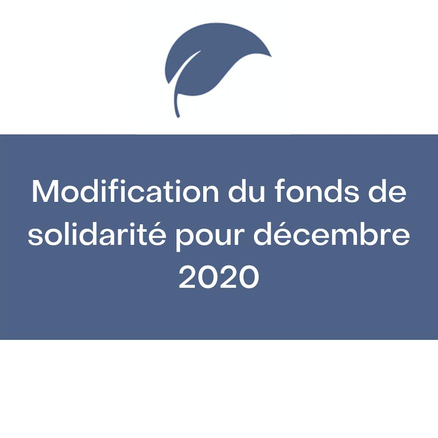 Le fonds de solidarité amélioré pour décembre 2020