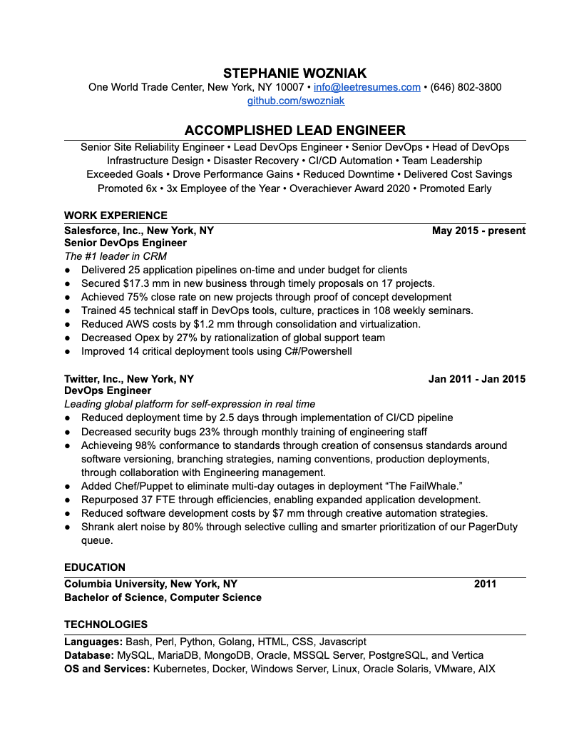Software Engineering Resume example