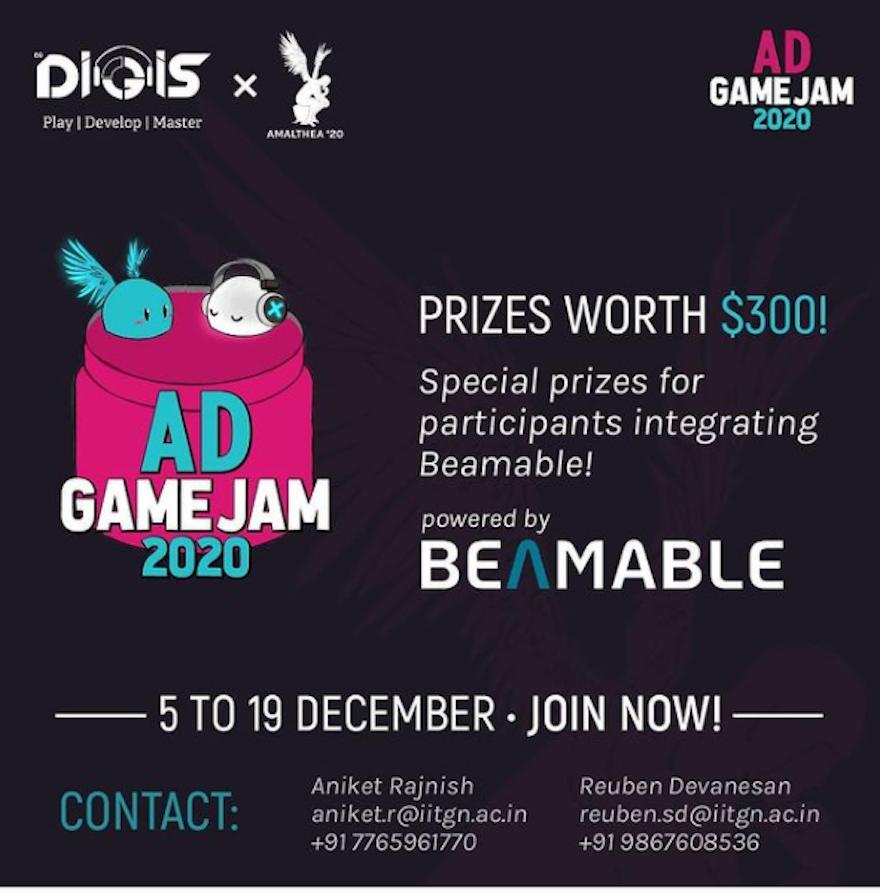 Beamable sponsoring Game Jam 2020 AD