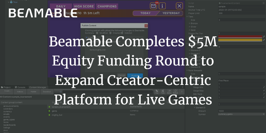 Beamable Completes $5M Equity Funding Round to Expand Creator-Centric Platform for Live Games