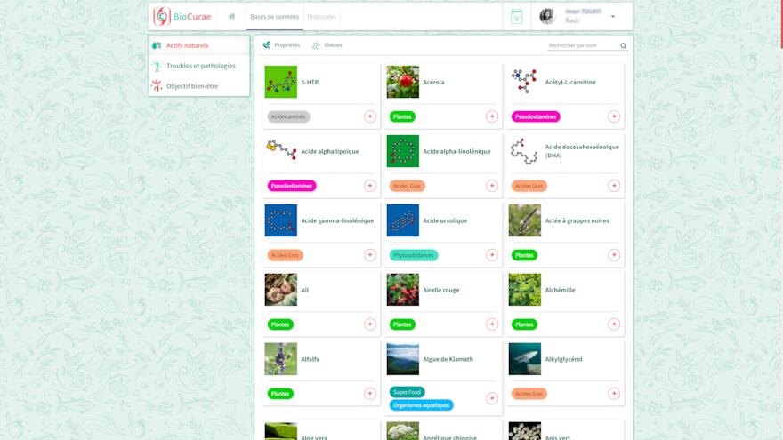 Base de donnée dans l'application BioCurae