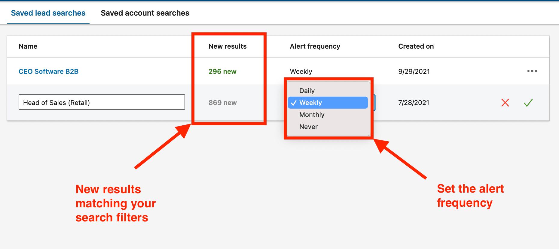 saved searches benefits sales navigator