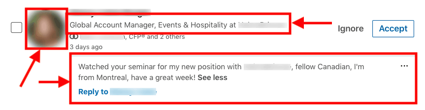 linkedin headline connection request