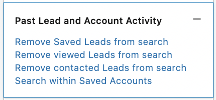past lead and account activity filter