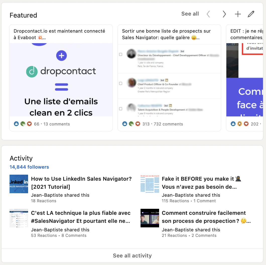 feature post and activity on linkedin