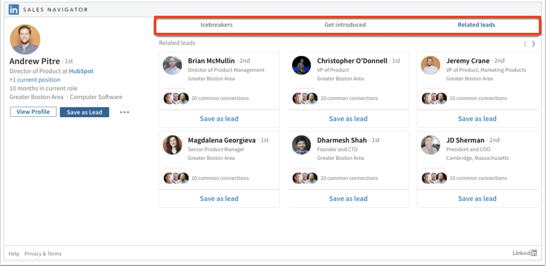 Sales Navigator CRM Embedded Profil benefits