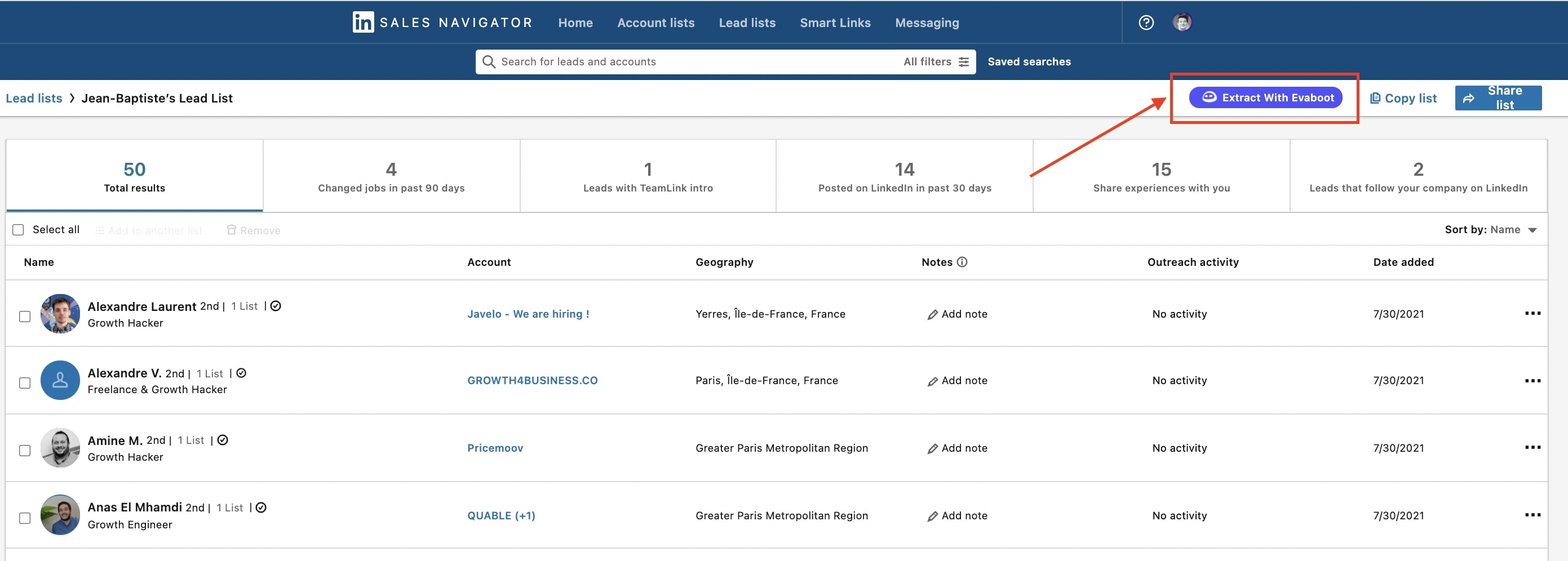 how to export list from linkedin sales navigator