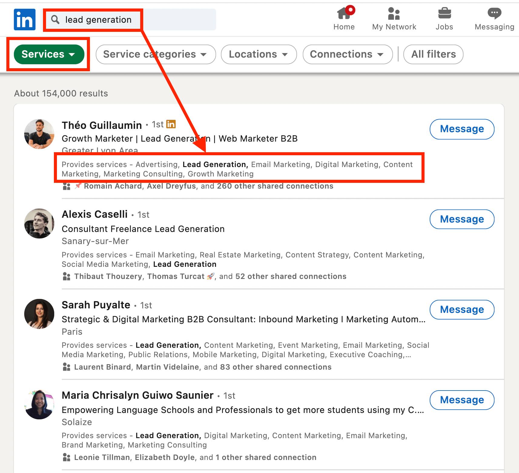 service keyword search linkedin