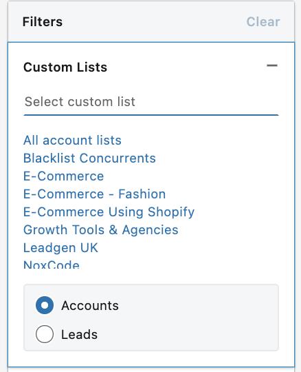 custom list filter