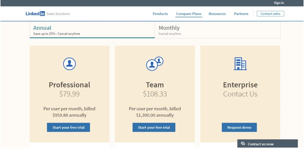 linkedin sales navigator pricing