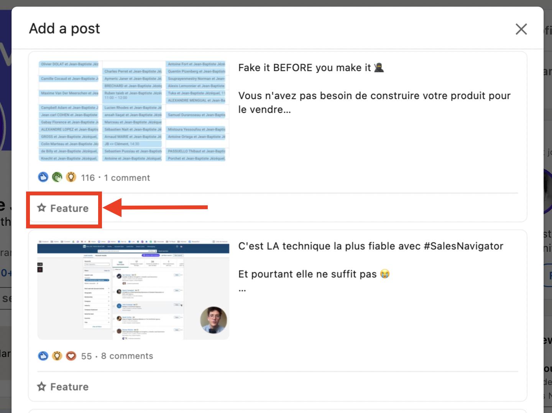 feature post in linkedin profile