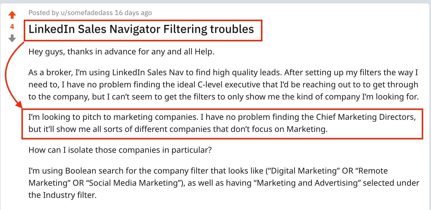 linkedin sales navigator filtering problem