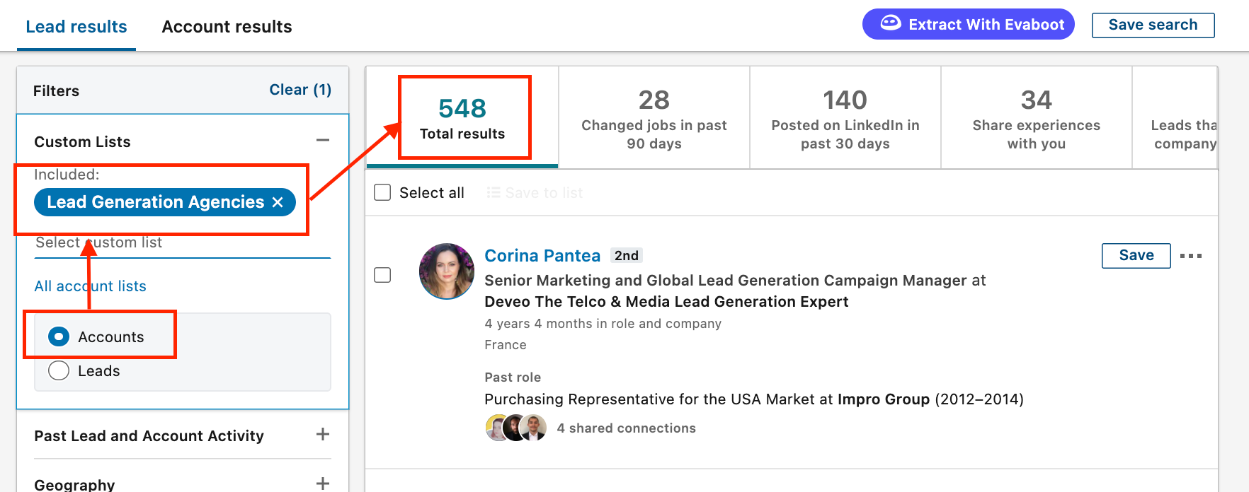 how to filter a lead search with an account list sales navigator