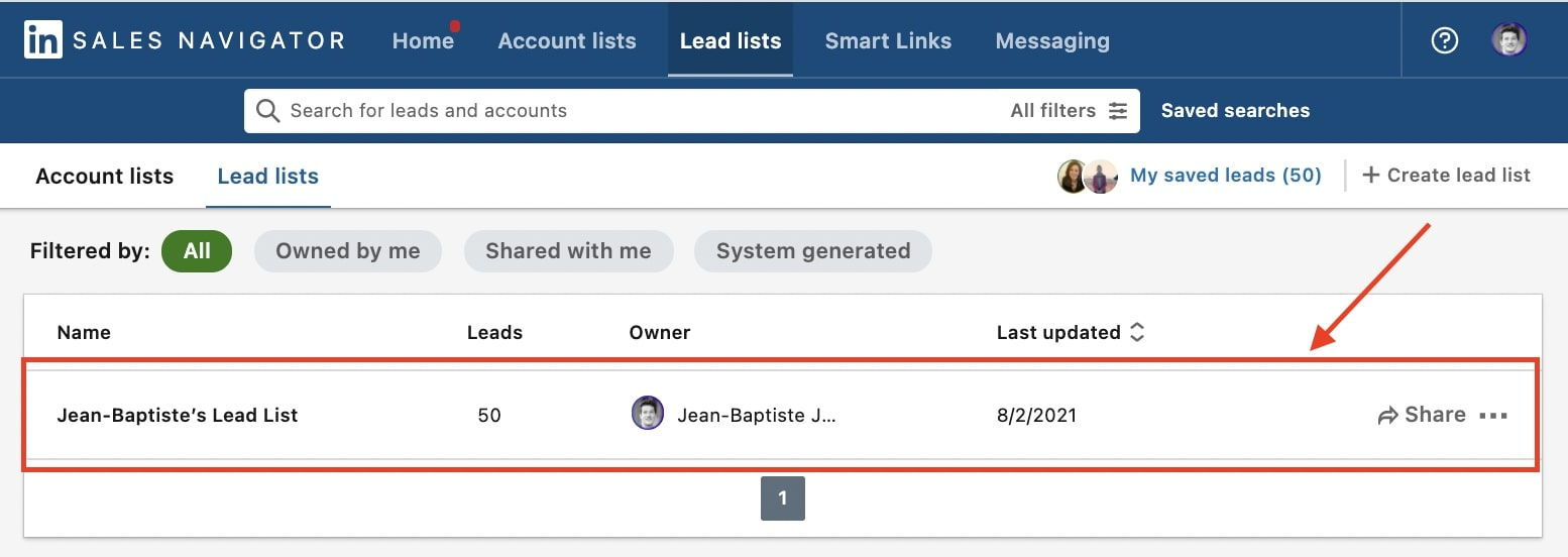 how to download lead list from sales navigator