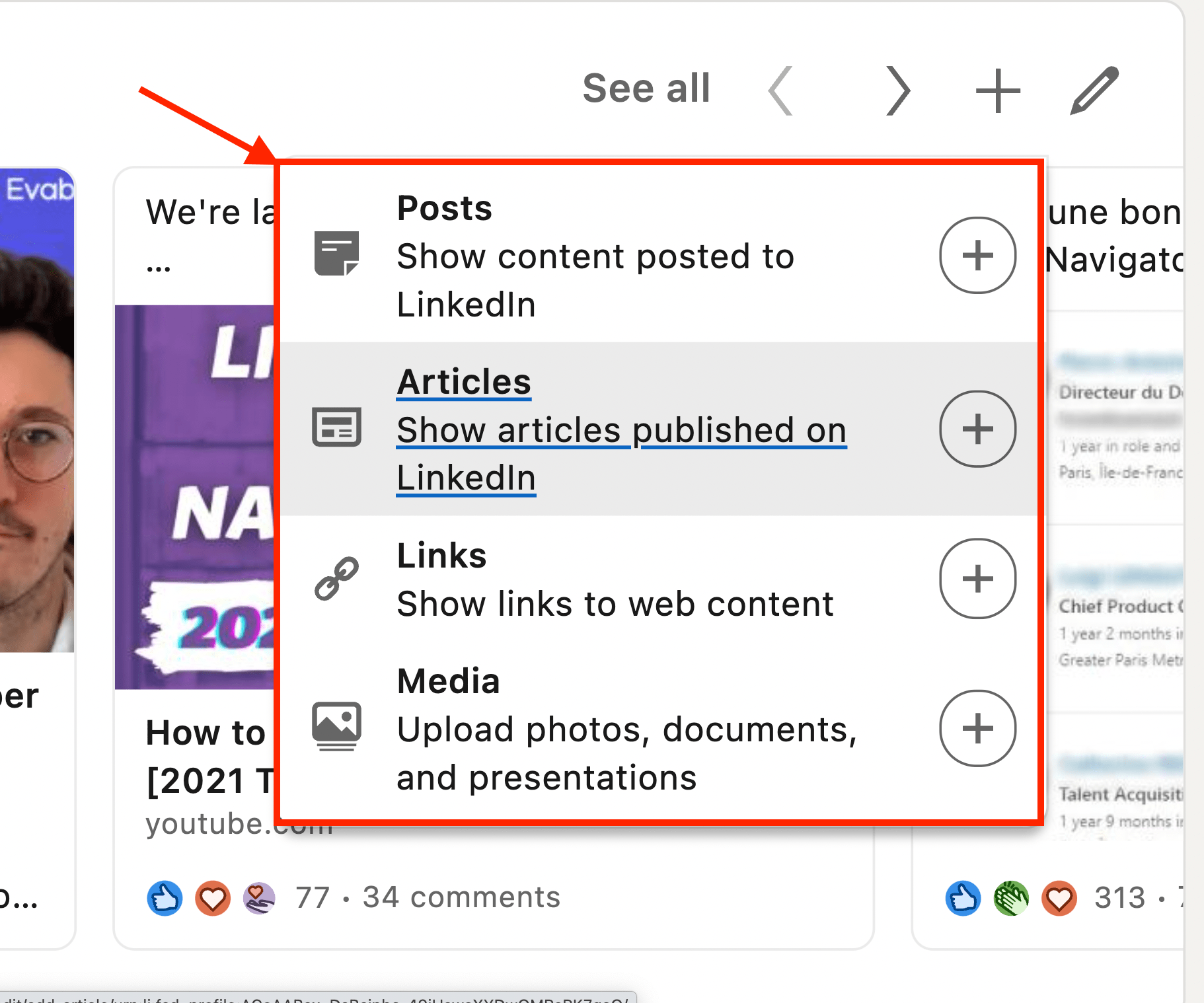 add content in featured section linkedin profile