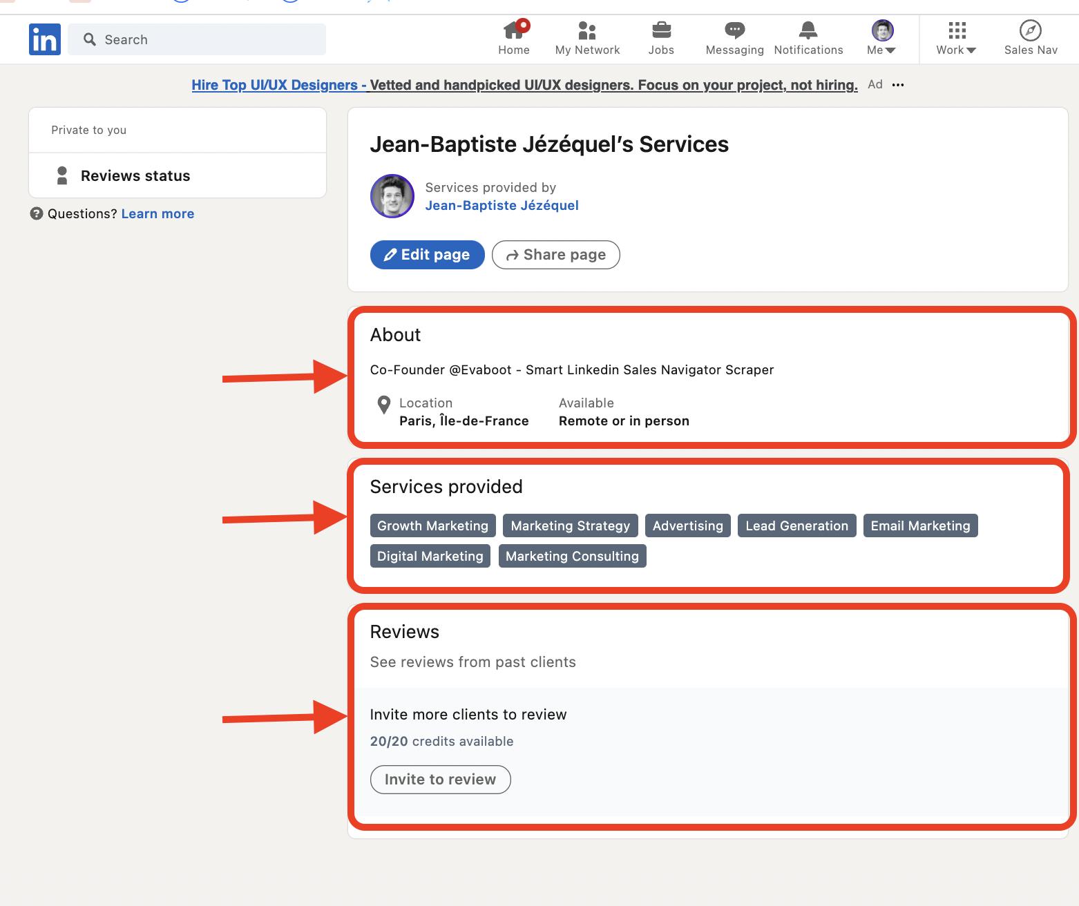 optimize service page linkedin