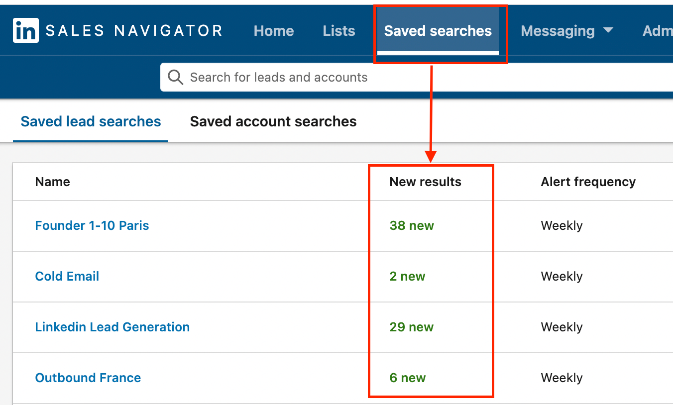 new leads saved searches sales navigator