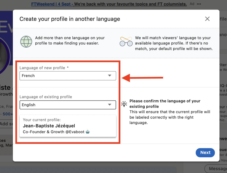 choose language linkedin profile