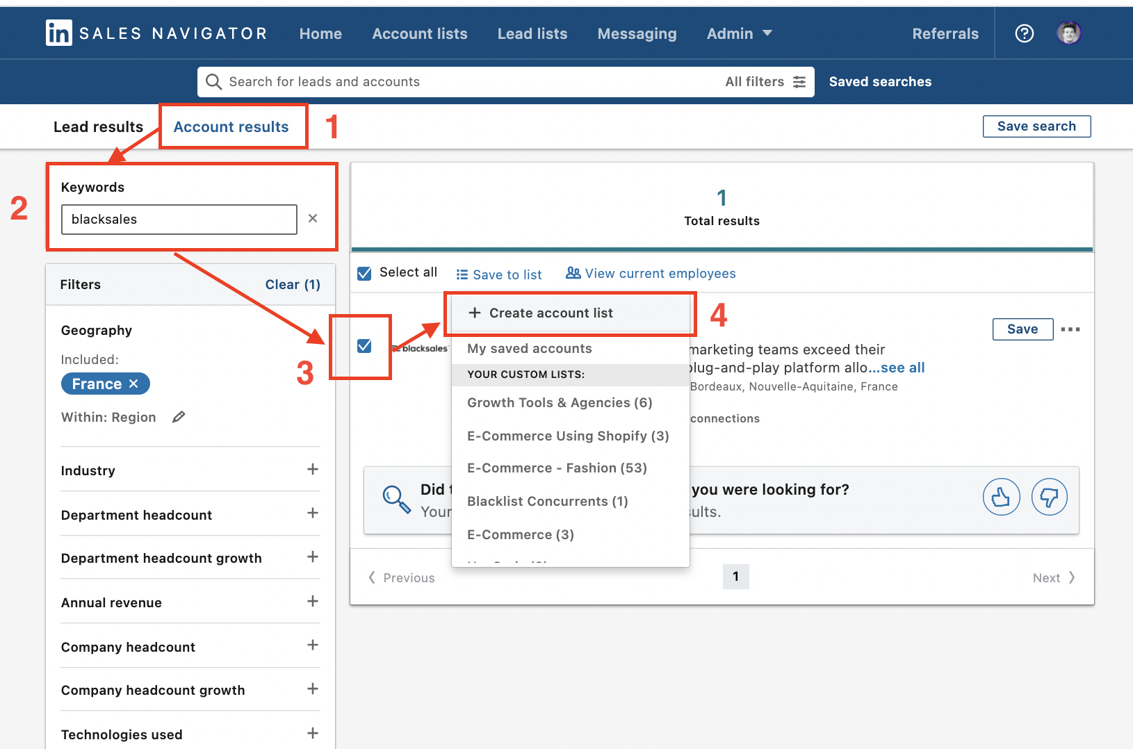 how to add accounts in a account list sales navigator