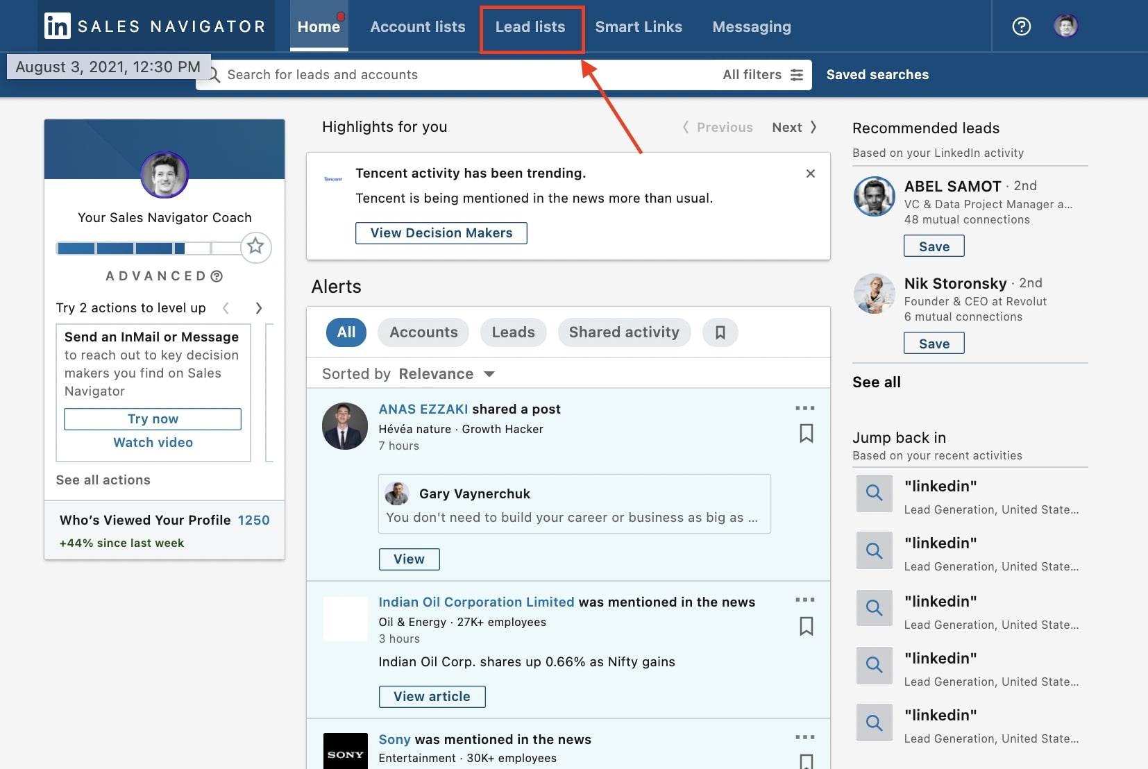 lead list tab linkedin sales navigator