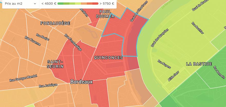 Prix m2 Bordeaux (33000) 2021 : carte des prix et estimation