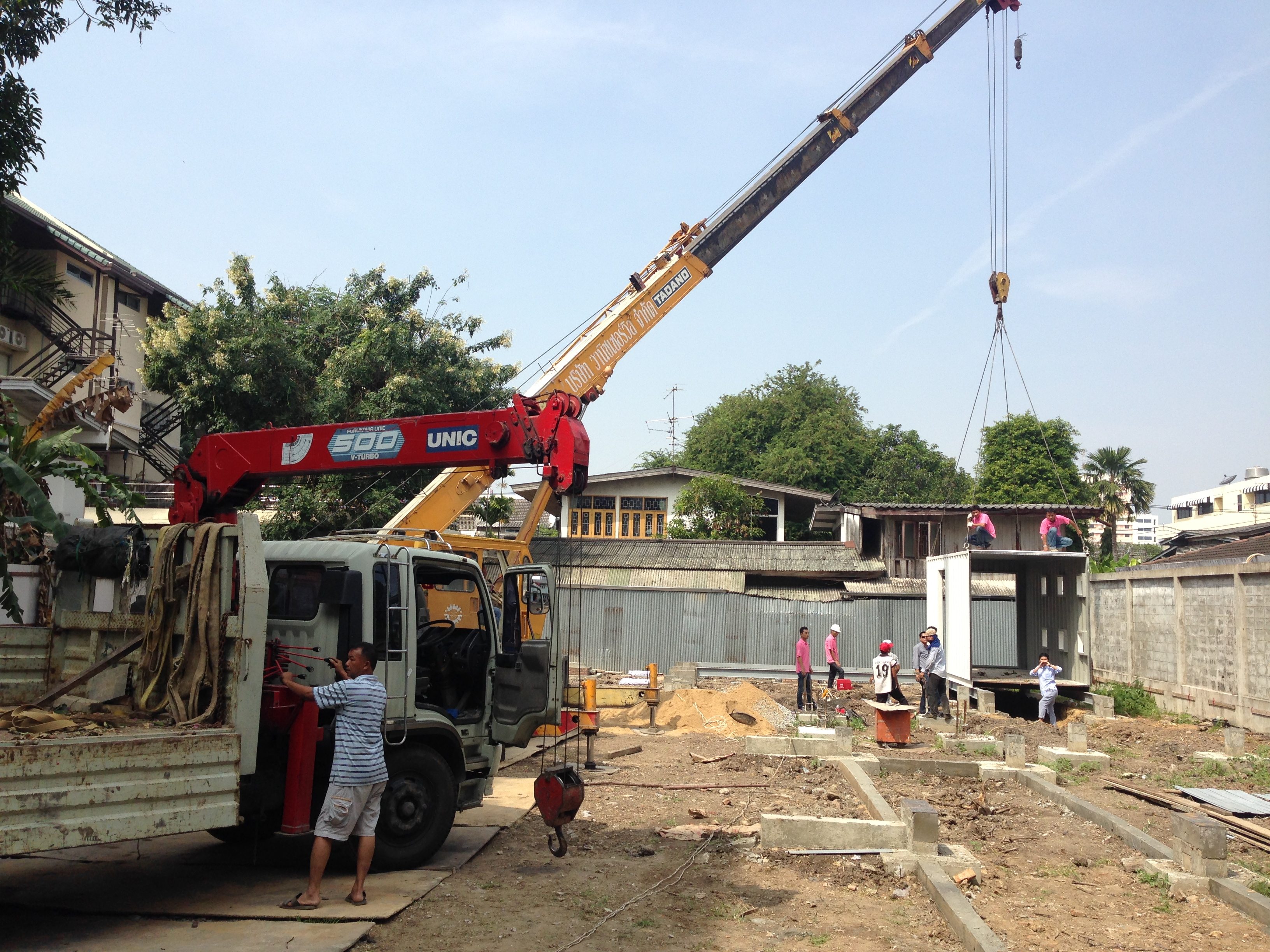The first of Yard hostel container be installed