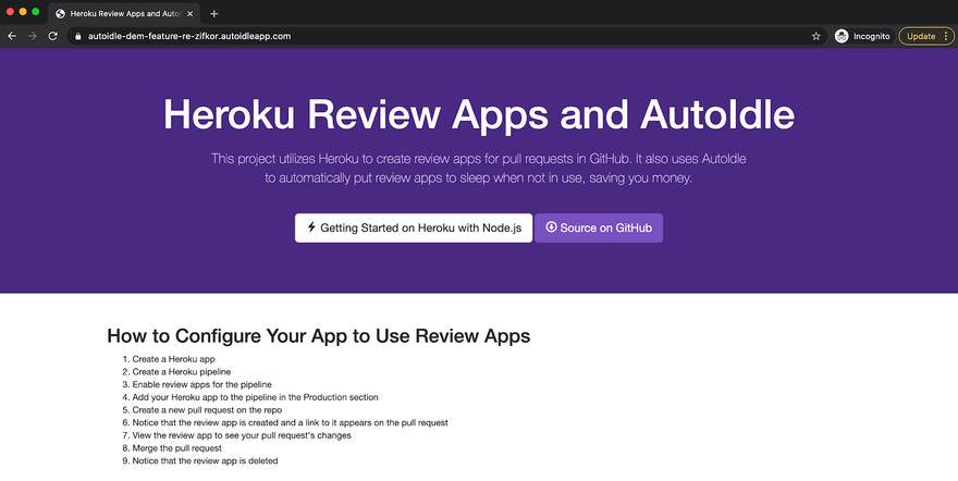 How to Create Review Apps on Heroku