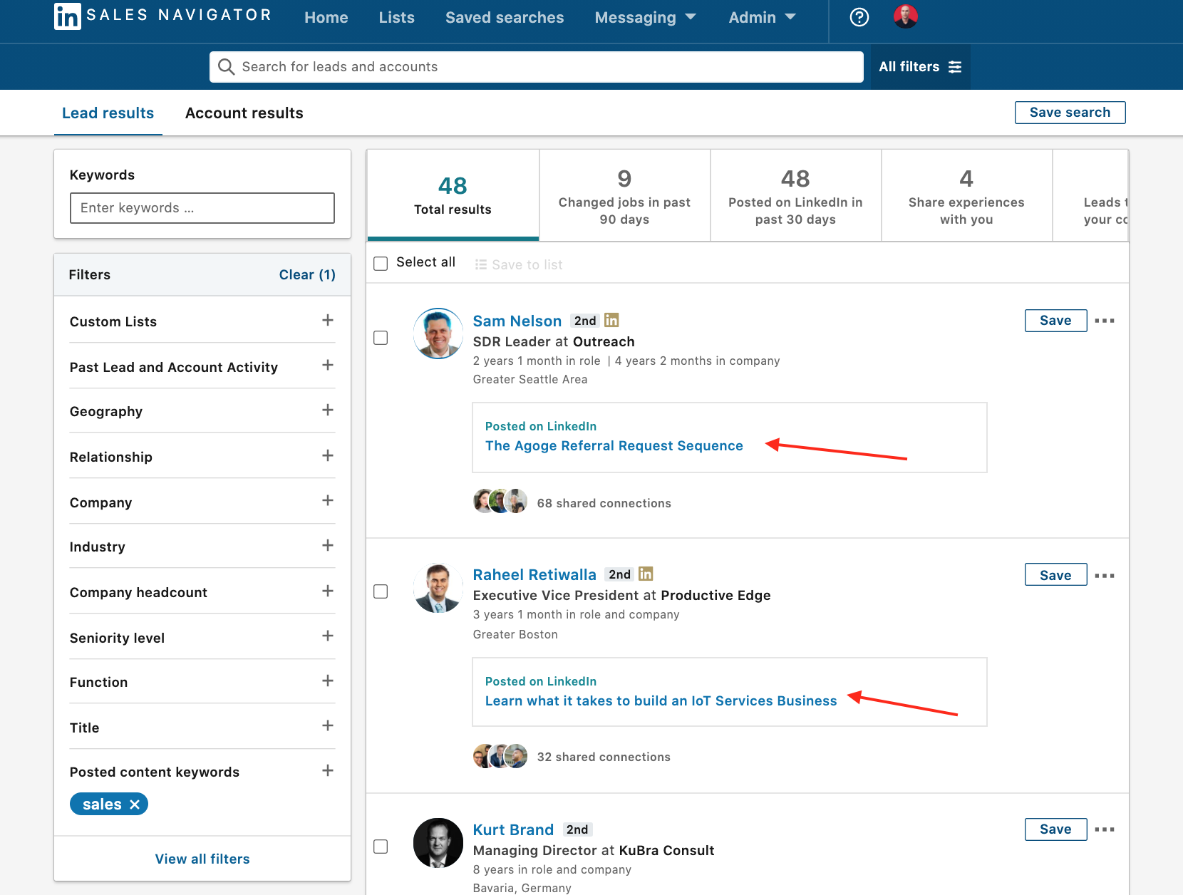 Linkedin content posted on sales naviagtor