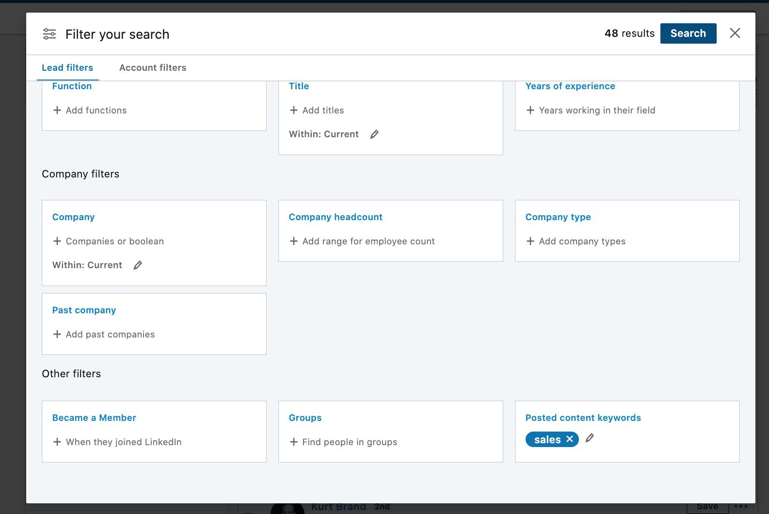 Linkedin Sales Navigator content posted