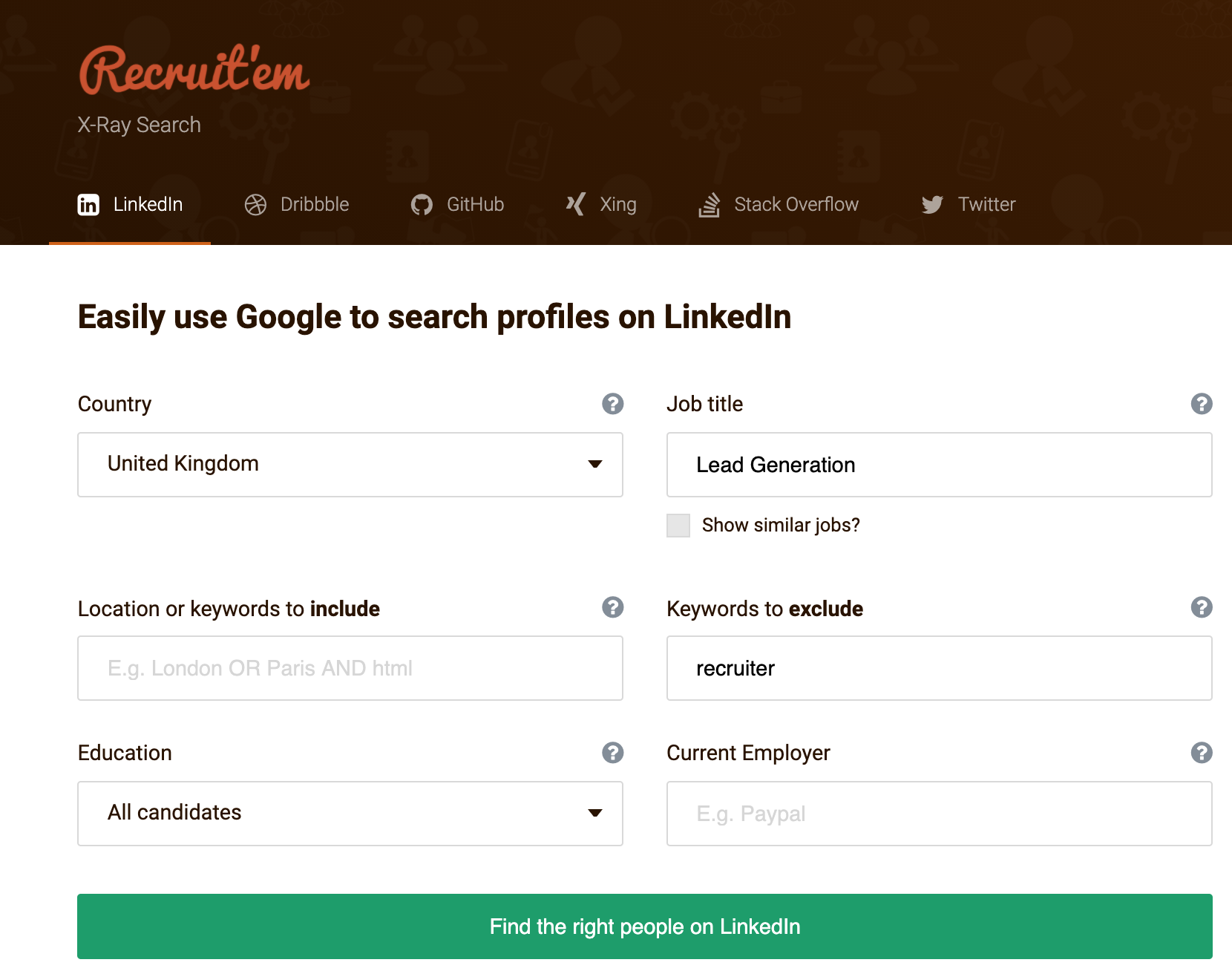 Finding your LinkedIn target audience on google Prospect Labs