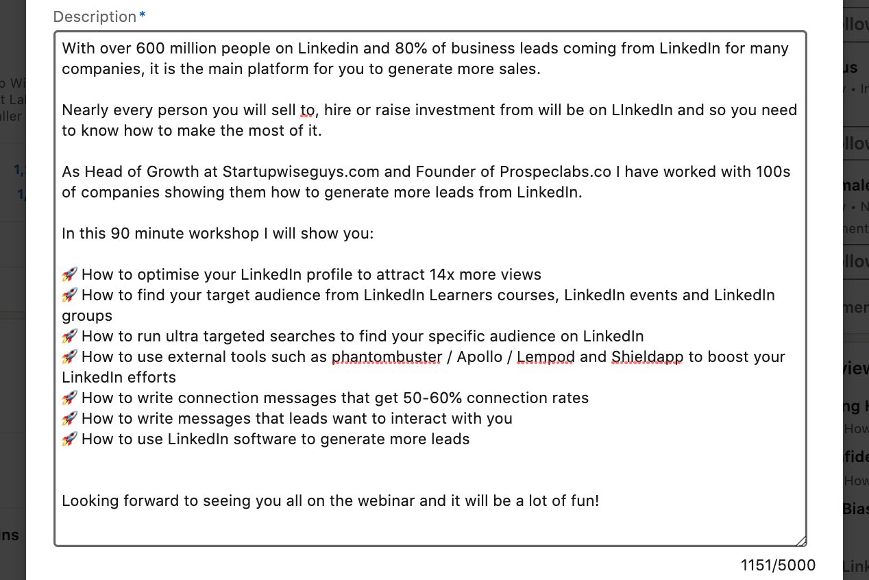 LinkedIn event description