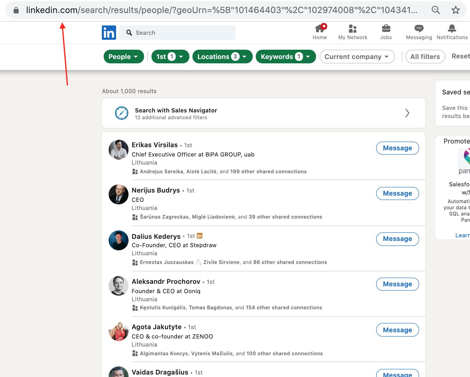 LinkedIn 1st Degree search