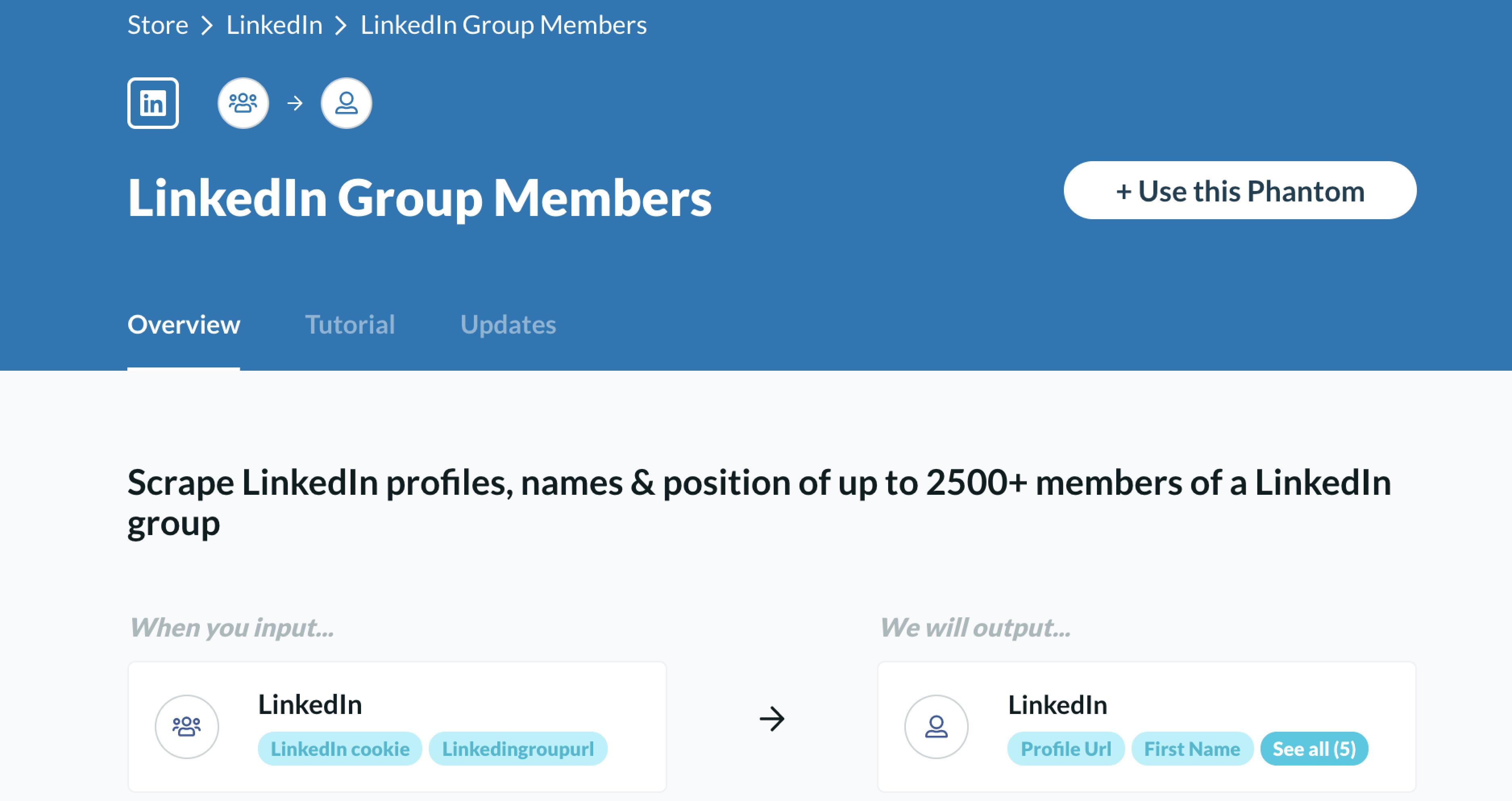 Phantombuster scrape LinkedIn groups