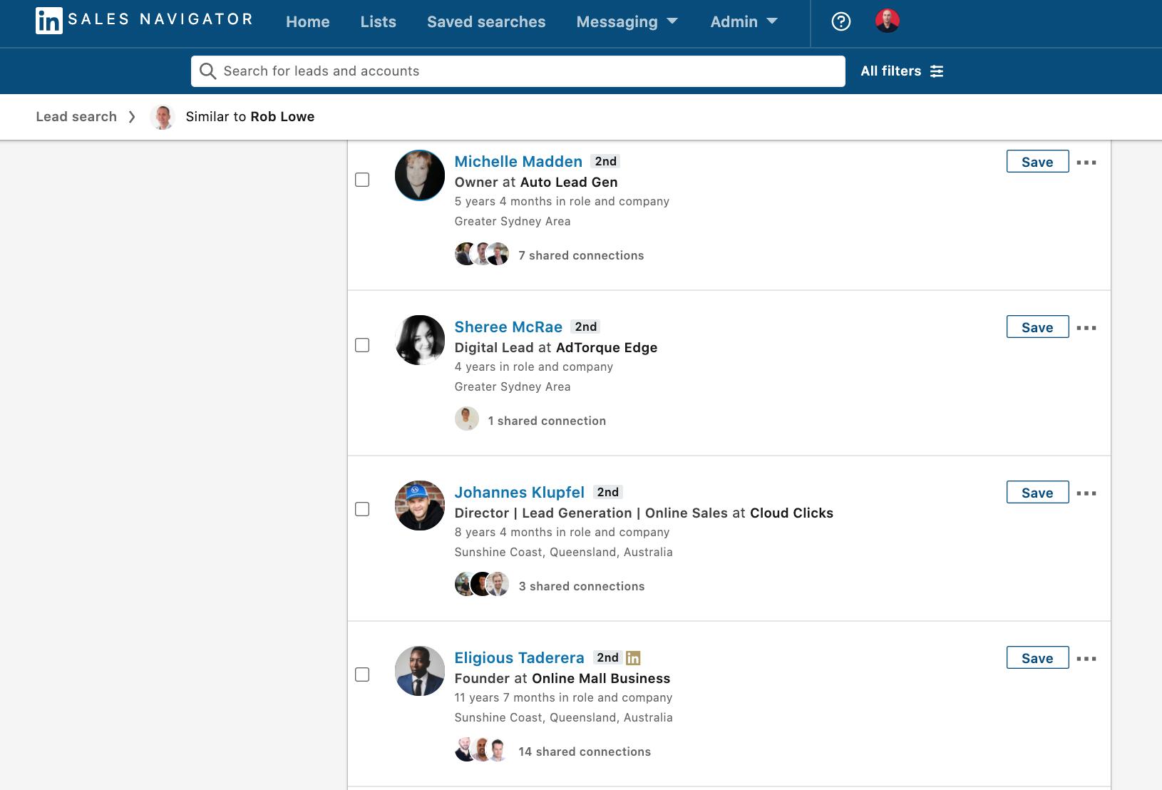 Sales Navigator Similar Search