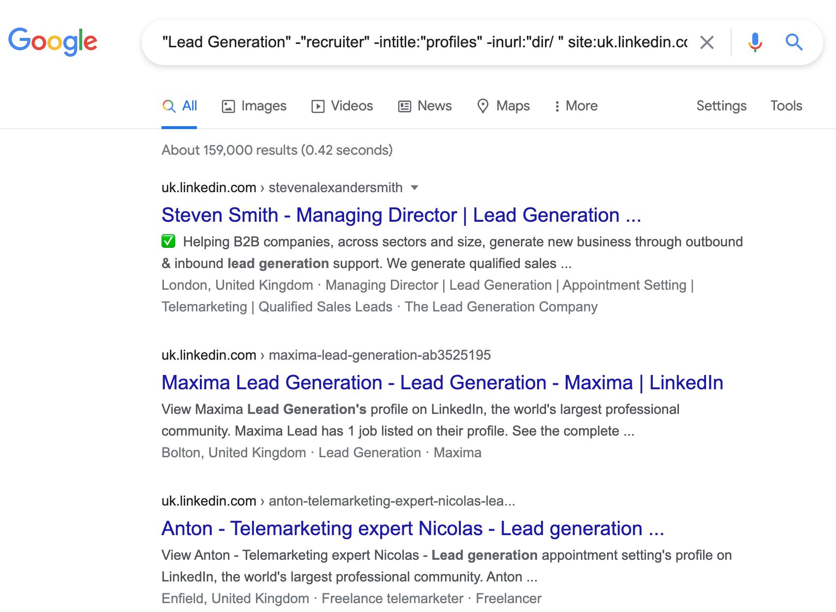 LinkedIn search in google