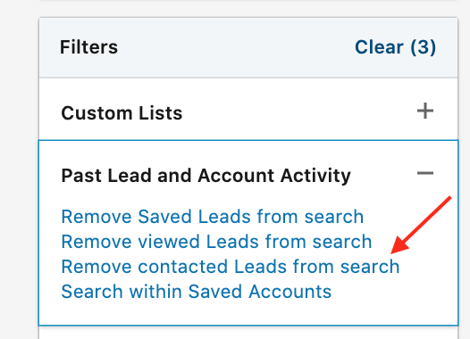 Remove contacted leads from search