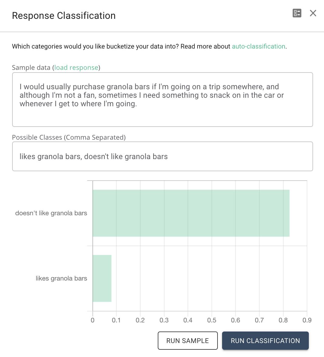 Coding a response into liking and disliking granola bars