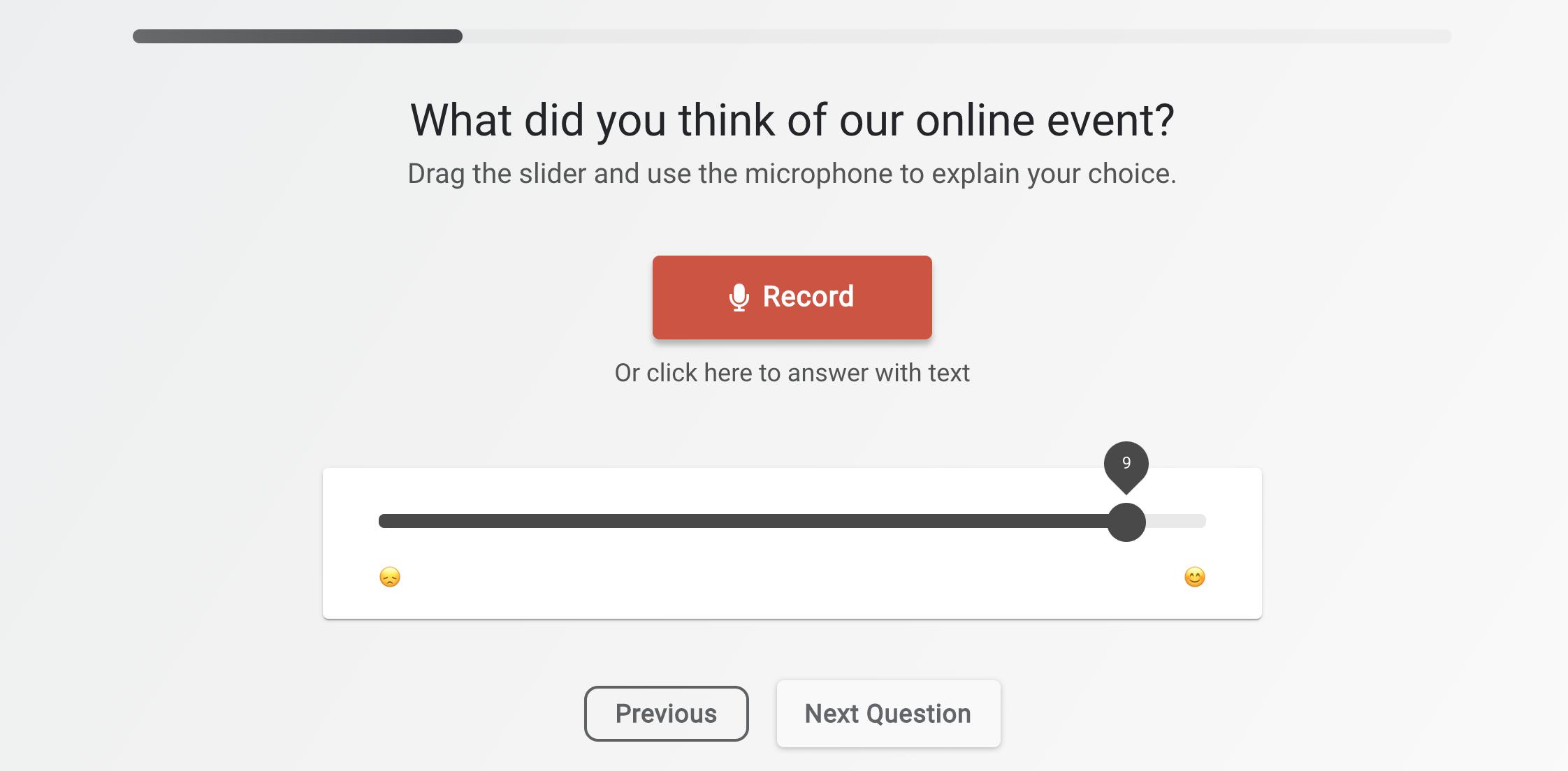 audio slider question type