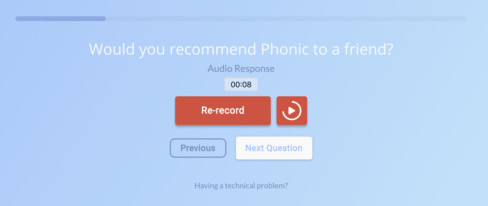audio playback in a survey