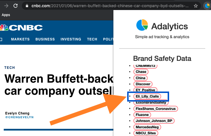 Screenshot of a CNBC article, showing the Adalytics browser extension and brand safety values