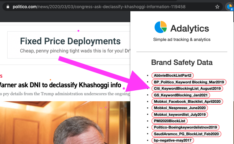 Screenshot of a Politico article, showing brand safety labels through the Adalytics browser extension