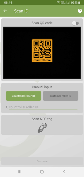 Scan ID - search for your asset or roller